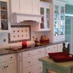 Accent island and colorful glass tile