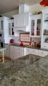 """Cottage style kitchen at the lake with Cambia """"Wentwood"""" Quartz tops"""