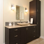 Contemporary master bath with Grabill frameless cabinets