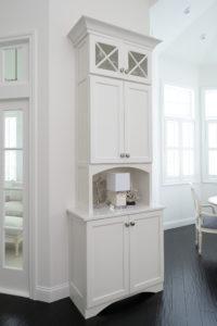 Tall white hutch & glass