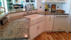 Cottage kitchen farm sink at the 45
