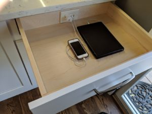 Kitchen with charging drawer